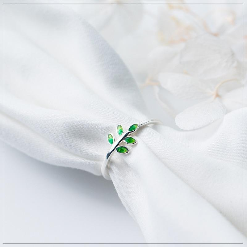 Sterling Silver Green Leaves Ring - 925 Real Silver Leaf Ring - Adjustable Green Leaves Ring Lux & Rose