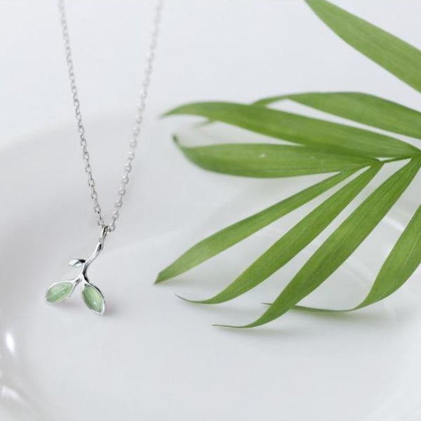 Sterling Silver Green Opal Leaves Necklace - 925 Real Silver Necklace - Classic Silver Necklace Lux & Rose