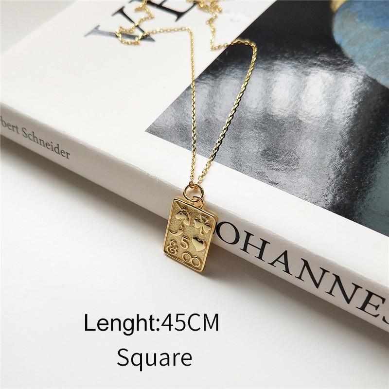 Sterling Silver Heart and Square Pendant Necklace - Golden Bohemian Layering Necklaces - Gold plated Pendant Necklaces Lux & Rose 45CM Square