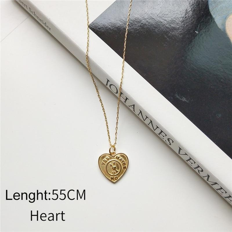 Sterling Silver Heart and Square Pendant Necklace - Golden Bohemian Layering Necklaces - Gold plated Pendant Necklaces Lux & Rose 55CM heart