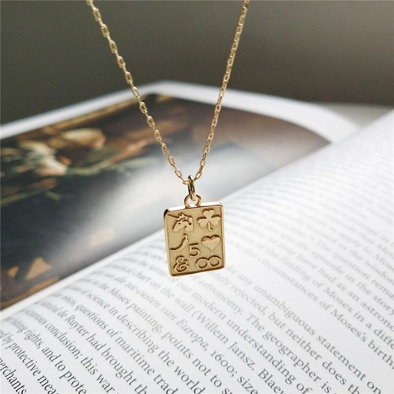 Sterling Silver Heart and Square Pendant Necklace - Golden Bohemian Layering Necklaces - Gold plated Pendant Necklaces Lux & Rose