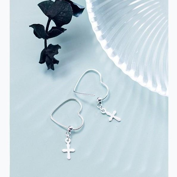 Sterling Silver Heart Cross Earrings - Hoop Dangle Earrings - 925 Real Silver Earrings - Playful Silver Earrings Lux & Rose