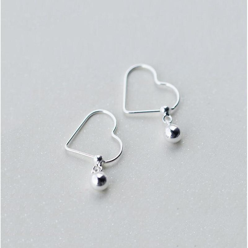 Sterling Silver Heart Cross Earrings - Hoop Dangle Earrings - 925 Real Silver Earrings - Playful Silver Earrings Lux & Rose E629 Bead