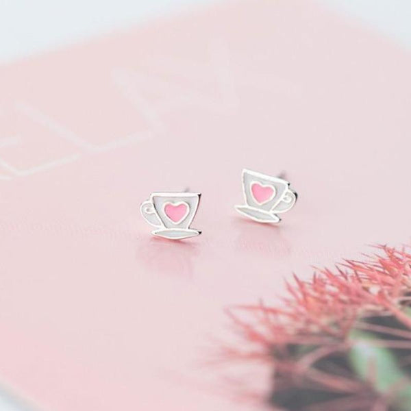 Sterling Silver Heart Cup Stud Earrings - 925 Cute Heart Earrings - 925 Real Silver Studs - Coffee Mug Earrings Lux & Rose