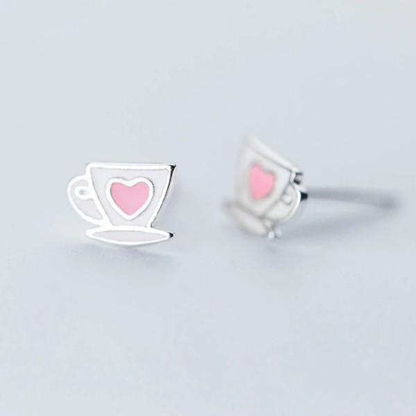Sterling Silver Heart Cup Stud Earrings - 925 Cute Heart Earrings - 925 Real Silver Studs - Coffee Mug Earrings Lux & Rose Default Title
