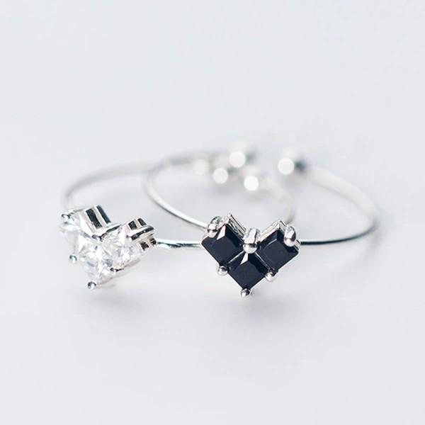 Sterling Silver Heart CZ Ring - 925 Real Silver Ring - Classic Silver Ring - Adjustable Cocktail Ring Lux & Rose