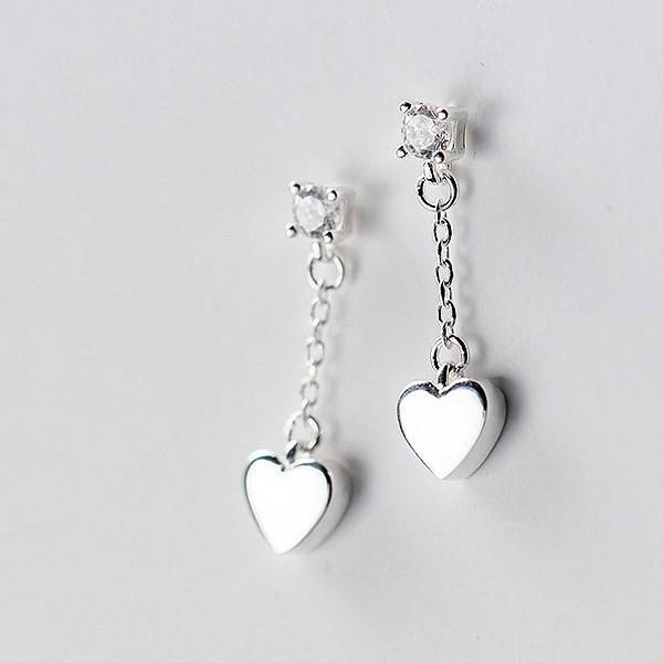 Sterling Silver Heart Earrings - Long Dangle Chain Earrings - 925 Real Silver Earrings - Playful Silver Earrings Lux & Rose