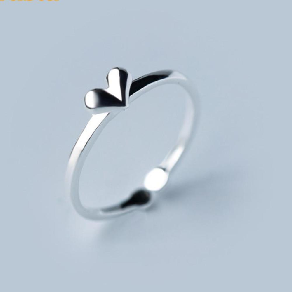 Sterling Silver Heart Ring - Adjustable Heart Ring - 925 Heart Ring - Cute Silver Rings Lux & Rose