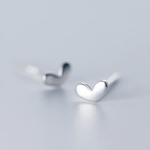 Sterling Silver Heart Stud Earrings - 925 Stud Earrings - 925 Real Silver Earrings - Playful Silver Earrings Lux & Rose Default Title