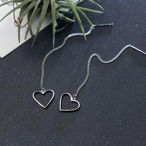 Sterling Silver Heart Threader Earrings - 925 Real Silver Earrings - Linked Drop Stick Earrings - Long Chain Earrings - Dangle Earrings Lux & Rose