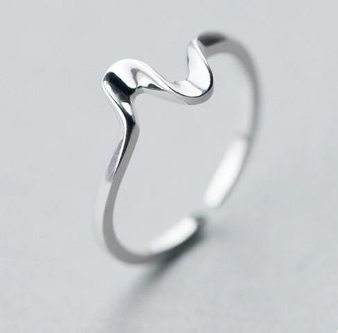Sterling Silver Heartbeat Wave Ring - 925 Real Silver Ring - Classic Silver Ring Lux & Rose