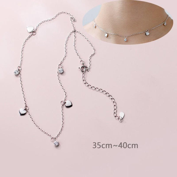 Sterling Silver Hearts Flower CZ choker Necklace - 925 Real Silver choker Necklace - Classic Silver choker Necklace Lux & Rose 1Pcs Choker Hearts