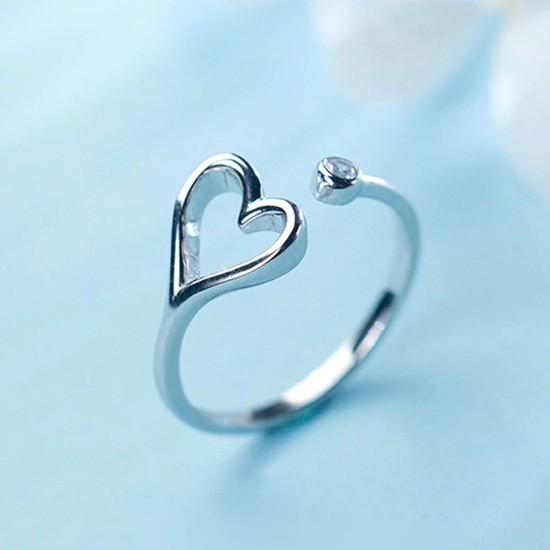 Sterling Silver Hollow Heart CZ Ring - 925 Real Silver Ring - Classic Silver Ring - Adjustable Cocktail Ring Lux & Rose