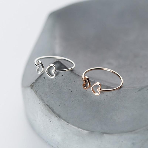 Sterling Silver Hollow Heart Double Ring - 925 Real Silver Ring - Classic Silver Ring - Adjustable Cocktail Ring Lux & Rose