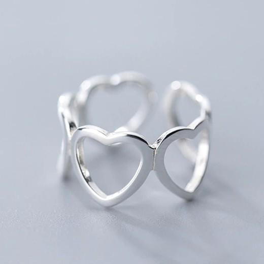 Sterling Silver Hollow Heart Opening Ring - 925 Real Silver Ring - Classic Silver Ring - Adjustable Cocktail Ring Lux & Rose