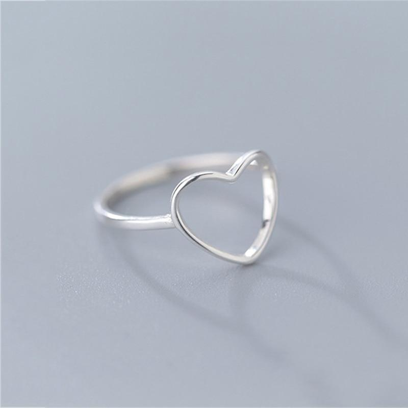 Sterling Silver Hollow Heart Plain Ring - 925 Real Silver Ring - Classic Silver Ring - Adjustable Cocktail Ring Lux & Rose