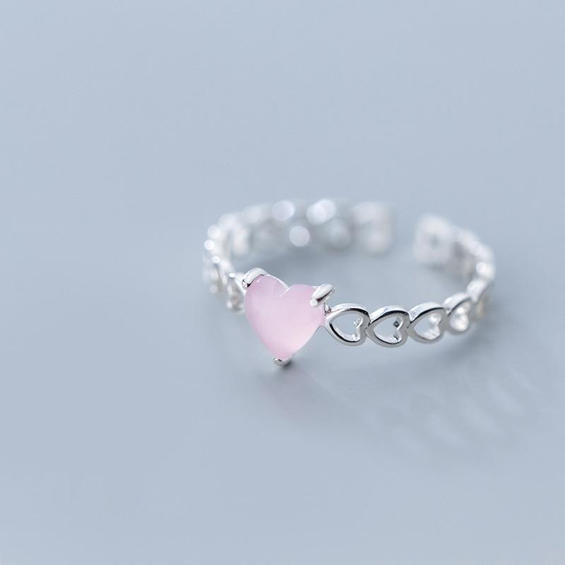 Sterling Silver Hollow Heart Ring - 925 Real Silver Ring - Classic Silver Ring - Adjustable Cocktail Ring Lux & Rose