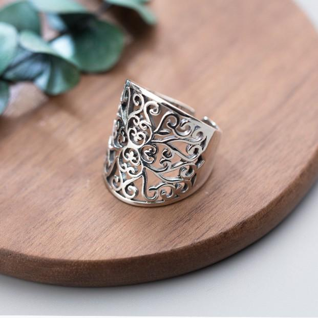 Sterling Silver Hollow Pattern Ring - 925 Real Silver Ring - Classic Silver Ring - Adjustable Cocktail Ring Lux & Rose