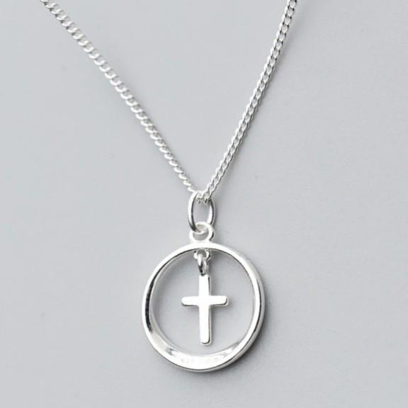 Sterling Silver Hollow Round Cross Necklace - 925 Real Silver Necklace - Classic Silver Necklace Lux & Rose Default Title