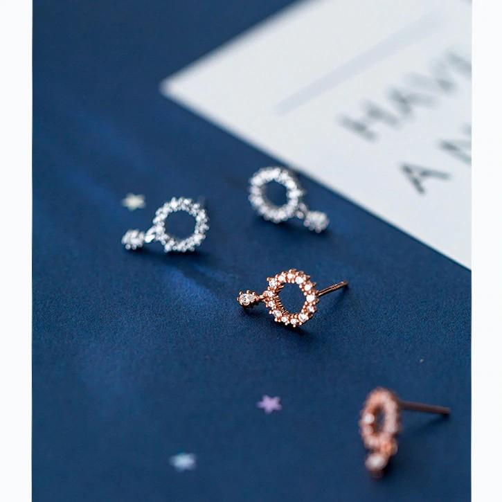 Sterling Silver Hollow Round CZ Circle Stud Earrings - 925 Real Silver Earrings - Playful Silver Earrings - Rose Gold Plated Circle Earrings Lux & Rose