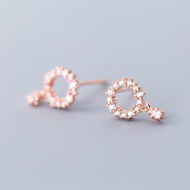 Sterling Silver Hollow Round CZ Circle Stud Earrings - 925 Real Silver Earrings - Playful Silver Earrings - Rose Gold Plated Circle Earrings Lux & Rose Rose