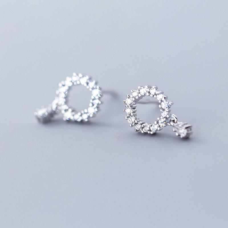Sterling Silver Hollow Round CZ Circle Stud Earrings - 925 Real Silver Earrings - Playful Silver Earrings - Rose Gold Plated Circle Earrings Lux & Rose Silver