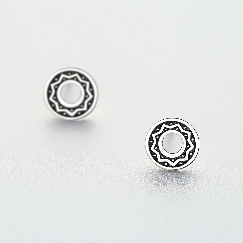 Sterling Silver Hollow Round Sun Flower Earrings - 925 Stud Earrings - 925 Real Silver Earrings - Playful Silver Earrings Lux & Rose