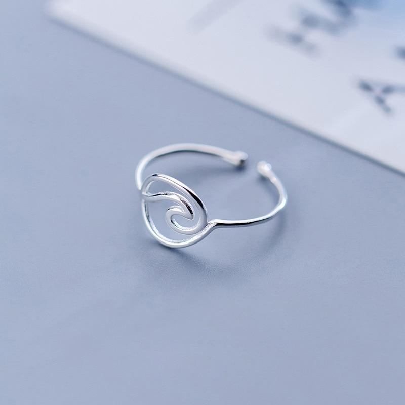 Sterling Silver Hollow Round Wave Ring - 925 Real Silver Ring - Adjustable Silver Wave Ring Lux & Rose