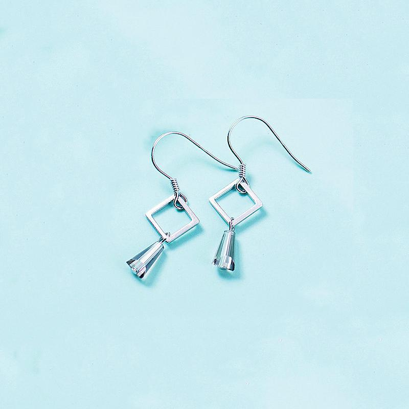 Sterling Silver Hollow Square Dangle Earrings - Geometrical Dangling Earrings - Playful 925 Real Silver Earrings Lux & Rose