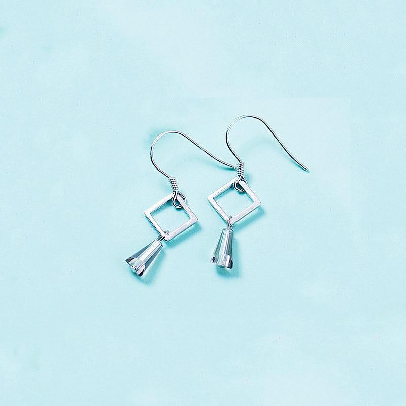 Sterling Silver Hollow Square Dangle Earrings - Geometrical Dangling Earrings - Playful 925 Real Silver Earrings Lux & Rose Gray