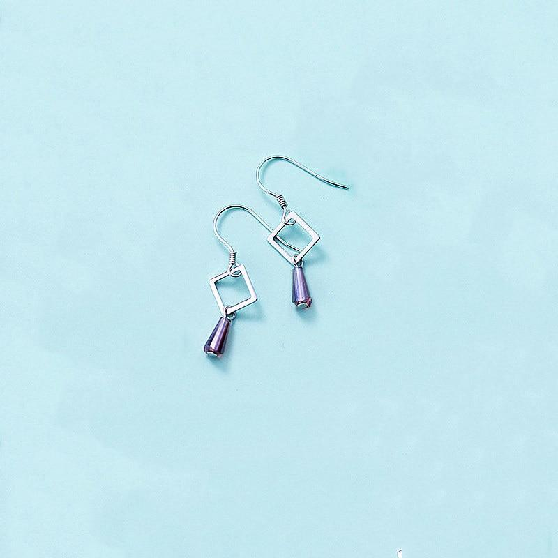Sterling Silver Hollow Square Dangle Earrings - Geometrical Dangling Earrings - Playful 925 Real Silver Earrings Lux & Rose Purple