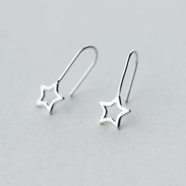 Sterling Silver Hollow Star Stud Earrings - 925 Real Silver Earrings - Playful Silver Earrings Lux & Rose Default Title