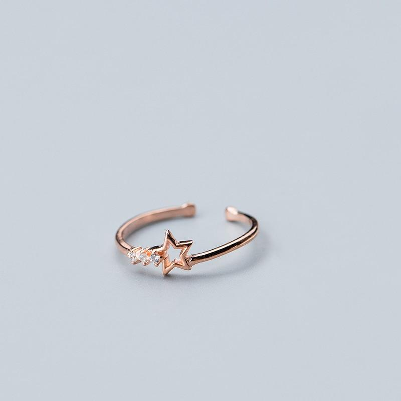 Sterling Silver Hollow Star Zircon Ring - 925 Real Silver Ring - Classic Silver Ring - Adjustable Cocktail Ring Lux & Rose 1 Pcs Rose Resizable