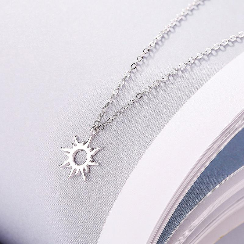 Sterling Silver Hollow Sun Pendant Necklace - 925 Real Silver Necklace - Classic Silver Necklace Lux & Rose