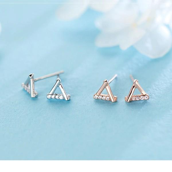 Sterling Silver Hollow Triangle Stud Earrings - 925 Stud Earrings - 925 Real Silver Earrings - Playful Silver Earrings - 925 Stud Earrings - 925 Real Silver Earrings - Playful Silver Earrings - Outline Triangle Earrings Lux & Rose