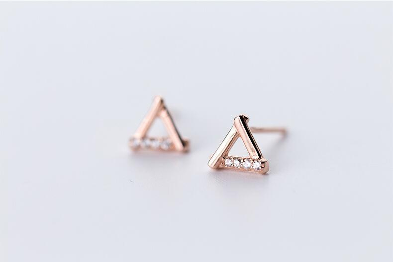 Sterling Silver Hollow Triangle Stud Earrings - 925 Stud Earrings - 925 Real Silver Earrings - Playful Silver Earrings - 925 Stud Earrings - 925 Real Silver Earrings - Playful Silver Earrings - Outline Triangle Earrings Lux & Rose Rose Gold