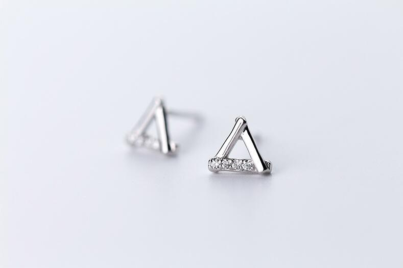 Sterling Silver Hollow Triangle Stud Earrings - 925 Stud Earrings - 925 Real Silver Earrings - Playful Silver Earrings - 925 Stud Earrings - 925 Real Silver Earrings - Playful Silver Earrings - Outline Triangle Earrings Lux & Rose Silver