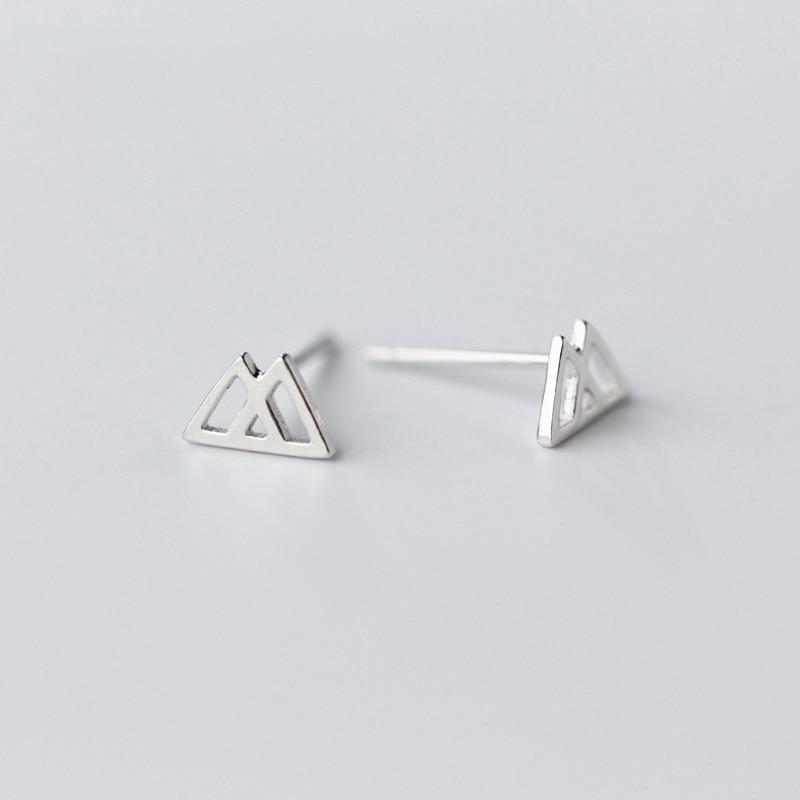 Sterling Silver Hollow Triangle Stud Earrings - 925 Stud Earrings - 925 Real Silver Earrings - Playful Silver Earrings - Double Triangle Earrings Lux & Rose