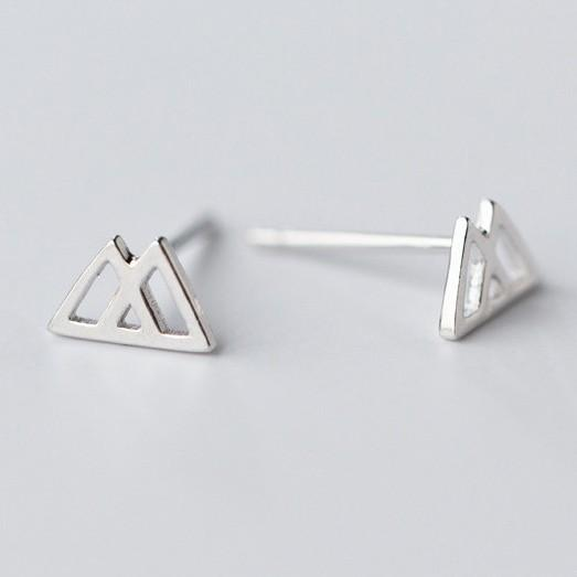Sterling Silver Hollow Triangle Stud Earrings - 925 Stud Earrings - 925 Real Silver Earrings - Playful Silver Earrings - Double Triangle Earrings Lux & Rose Default Title