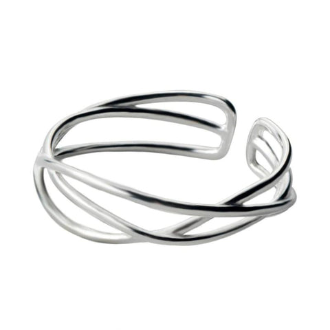 Sterling Silver Hollow Twisted Ring - 925 Real Silver Ring - Classic Silver Ring - Adjustable Cocktail Ring Lux & Rose