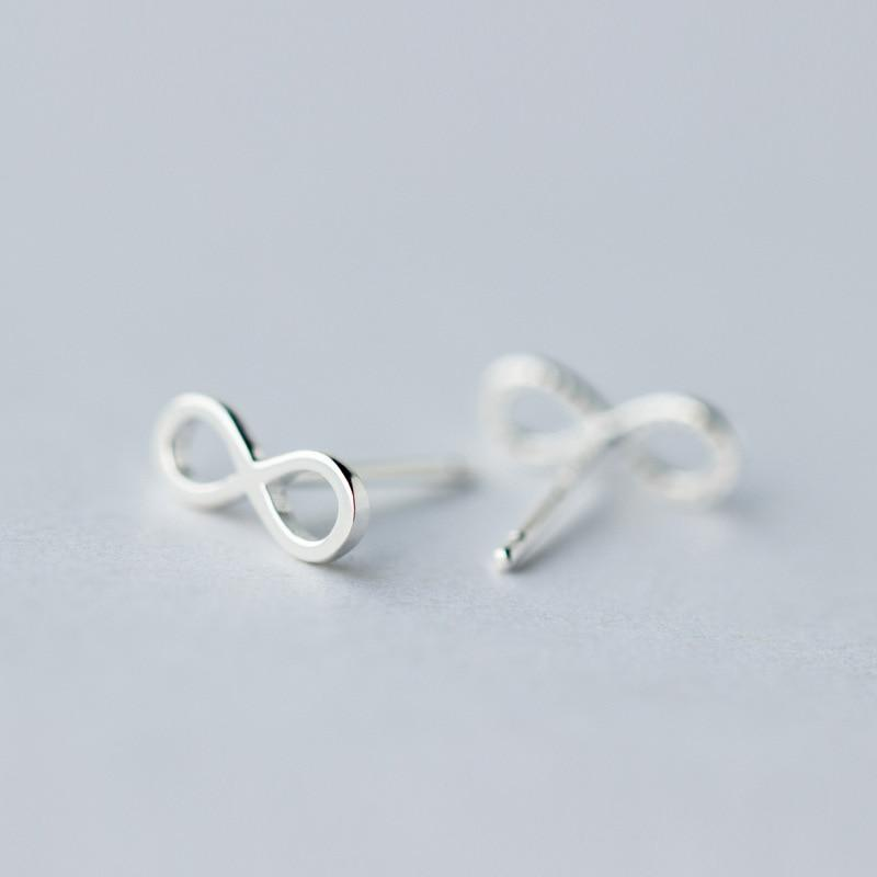 Sterling Silver Infinite Love Stud Earrings - 925 Stud Earrings - 925 Real Silver Earrings - Playful Silver Earrings Lux & Rose