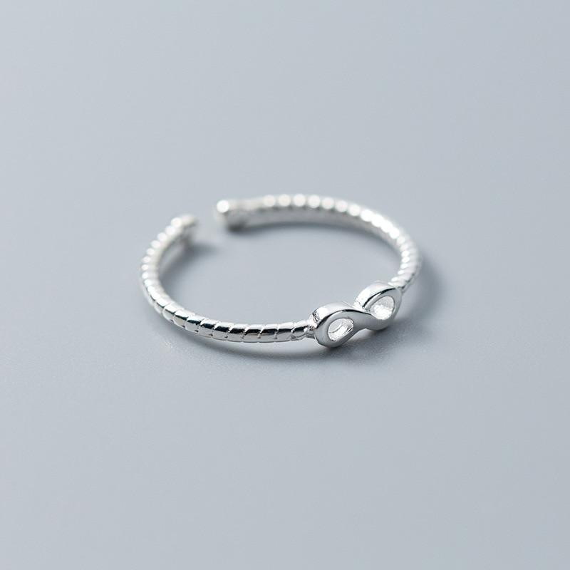 Sterling Silver Infinity Shape Geometric Ring - 925 Real Silver Ring - Classic Silver Ring - Adjustable Cocktail Ring Lux & Rose