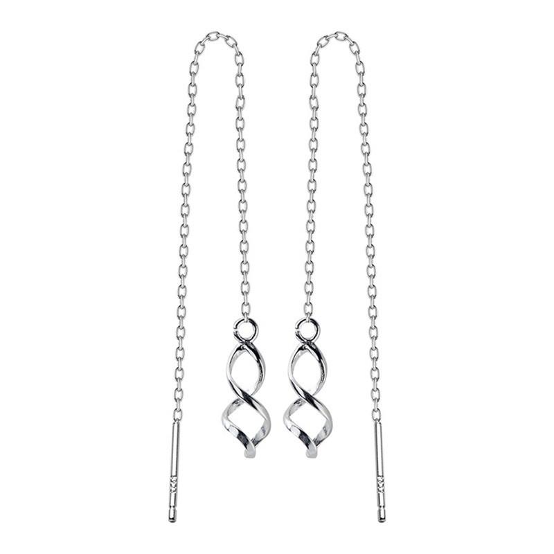 Sterling Silver Infinity Twist Threader Earrings - 925 Real Silver Chain Earrings - Waves Earrings - Dangle Earrings Lux & Rose Default Title