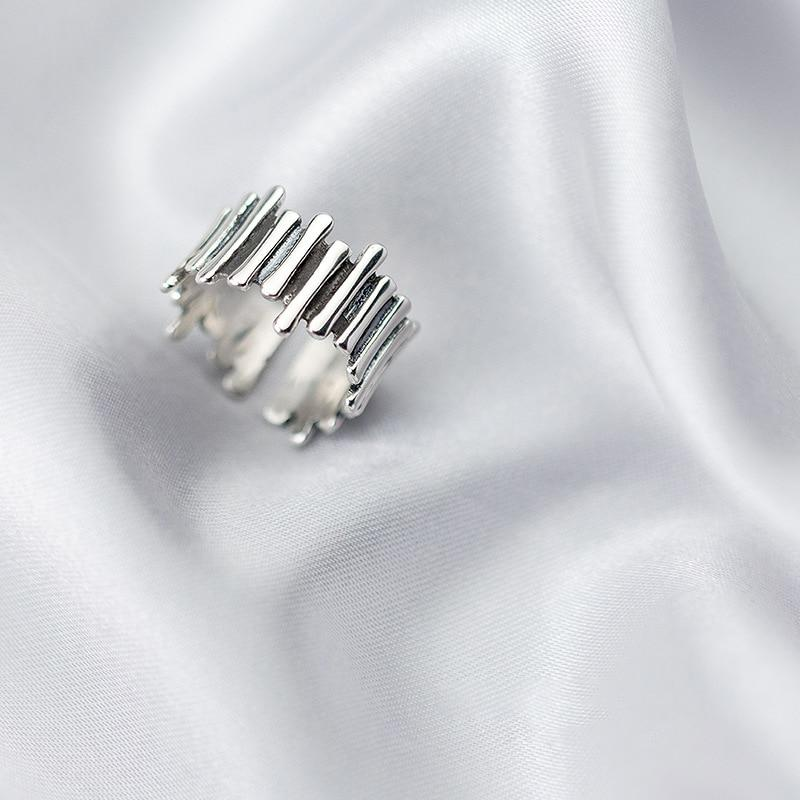 Sterling Silver Irregular Geometrical Statement Ring - 925 Real Silver Ring - Adjustable Modern Cocktail Ring Lux & Rose