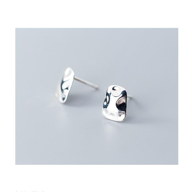 Sterling Silver Irregular Glossy Earrings - 925 Stud Earrings - 925 Real Silver Earrings - Playful Silver Earrings Lux & Rose