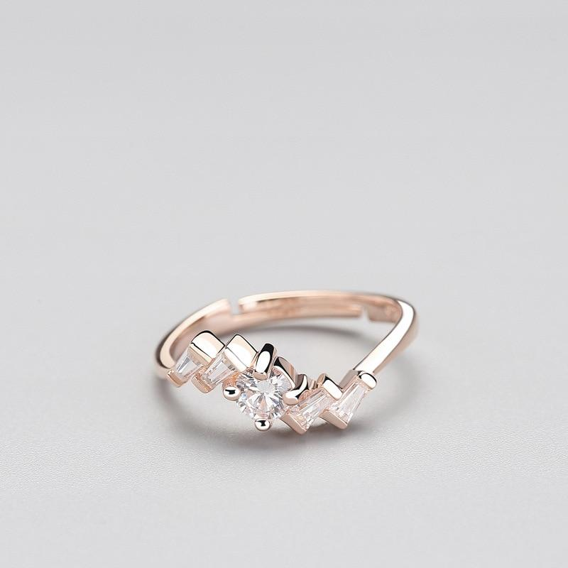 Sterling Silver Irregular Zircon Ring - 925 Real Silver Ring - Classic Silver Ring - Adjustable Cocktail Ring Lux & Rose Rose Gold Resizable