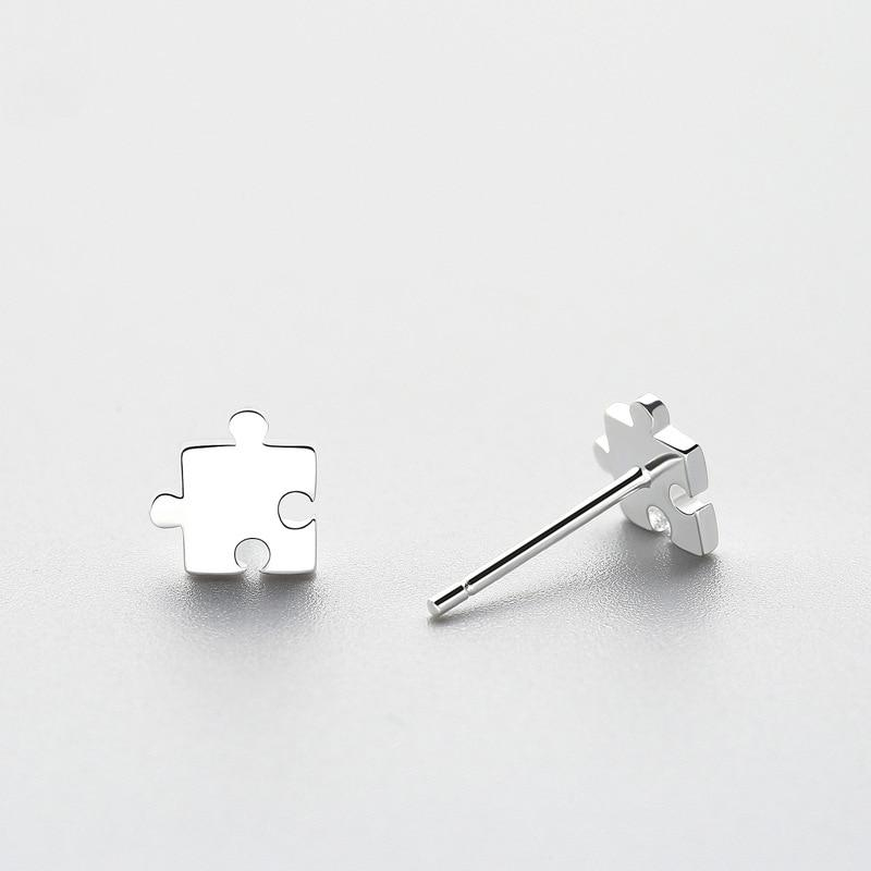 Sterling Silver Jigsaw Stud Earrings - 925 Stud Earrings - 925 Real Silver Earrings - Playful Silver Earrings Lux & Rose