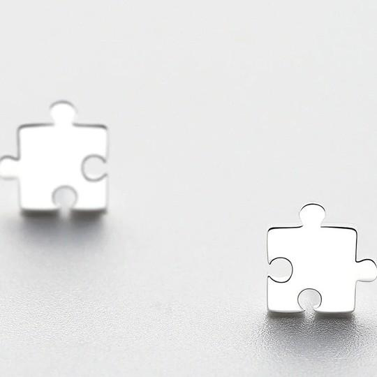 Sterling Silver Jigsaw Stud Earrings - 925 Stud Earrings - 925 Real Silver Earrings - Playful Silver Earrings Lux & Rose Default Title