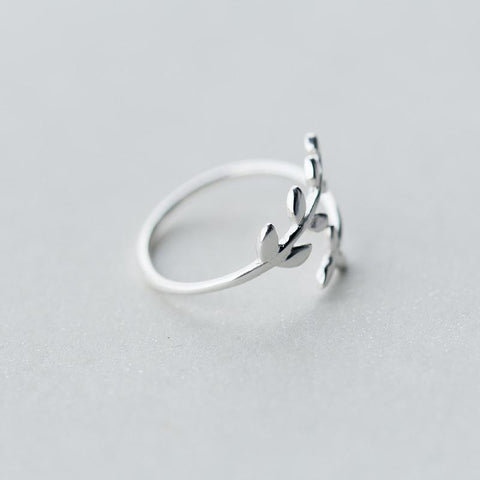 Sterling Silver Leaf Branch Ring - 925 Real Silver Ring - Classic Silver Ring - Adjustable Cocktail Ring Lux & Rose
