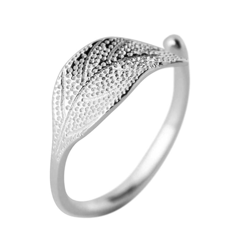 Sterling Silver Leaf Cocktail Ring - 925 Real Silver Ring - Classic Silver Ring Lux & Rose